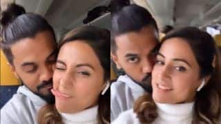 Hina Khan Gets Pampered With Boyfriend Rocky Jaiswal's Kisses as They Bid Adieu to Cannes, Watch