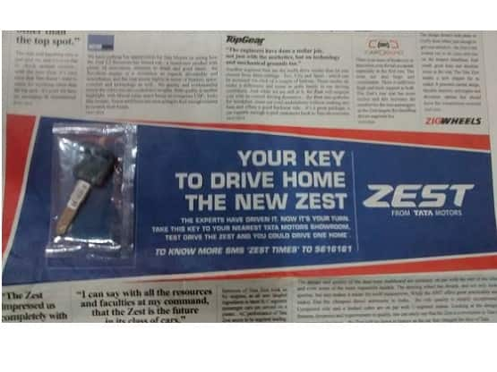 Tata Zest Key in the Newspaper ad Campaign: Test Drive Tata Zest With Personal Key