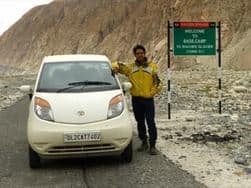Indian Doctor reaches the Highest Battlefield on Earth – Base Camp of Siachen Glacier on a Tata Nano
