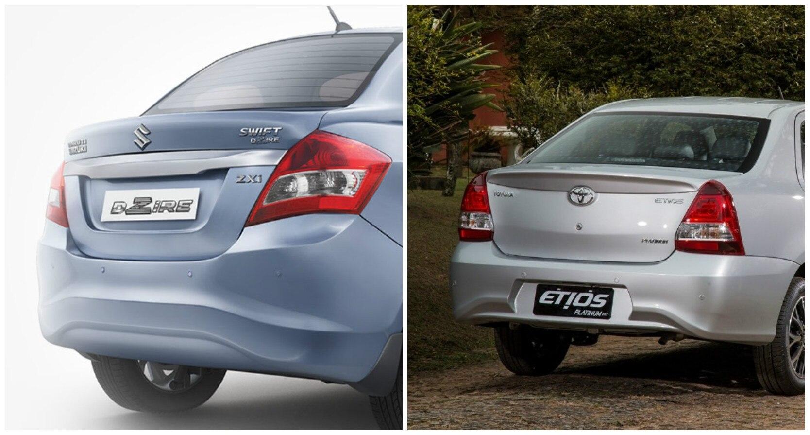 Toyota etios sedan facelift vs maruti suzuki dzire comparison report
