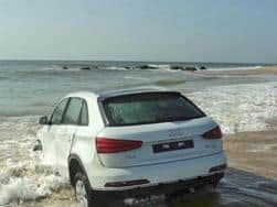 Stolen brand new Audi Q3 rescued from drifting into sea in Chennai