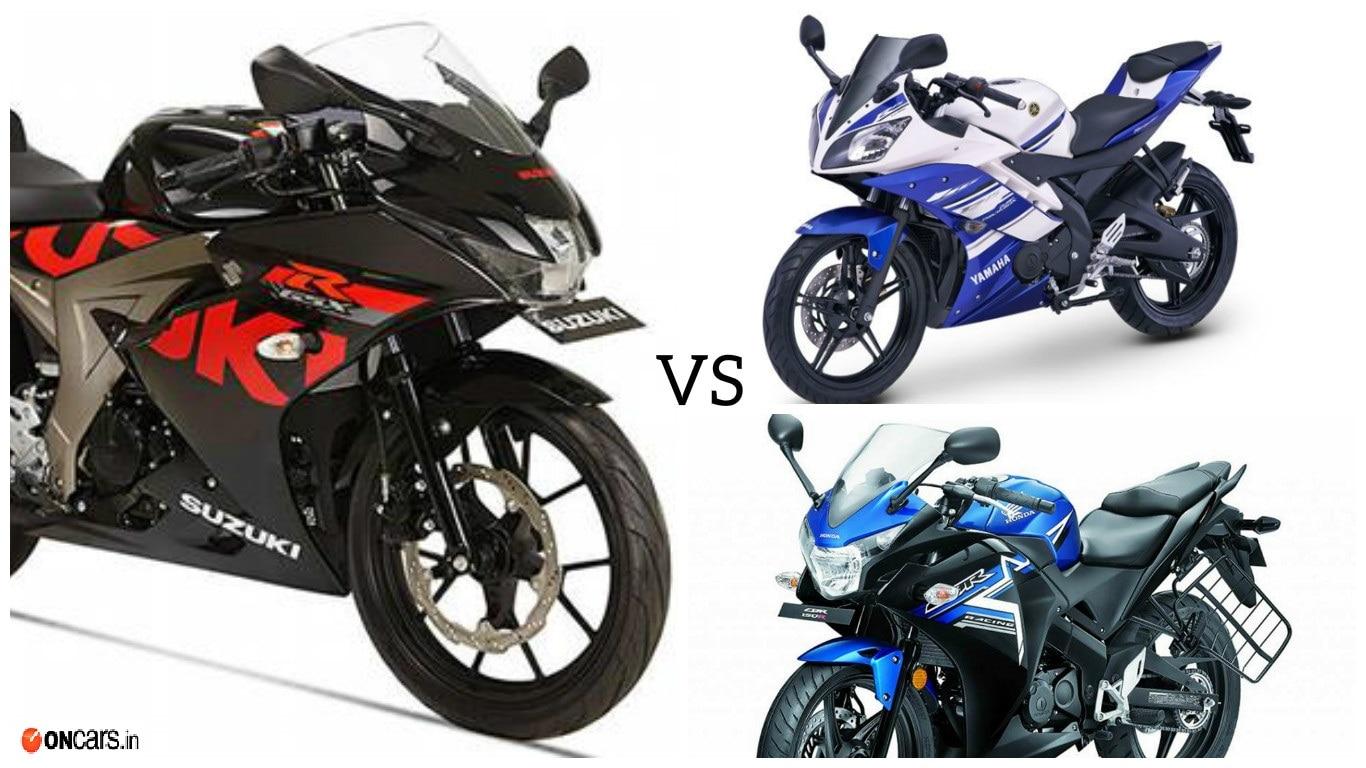suzuki gsx-r150 vs yamaha yzf-r15 v2.0 vs honda cbr 150r