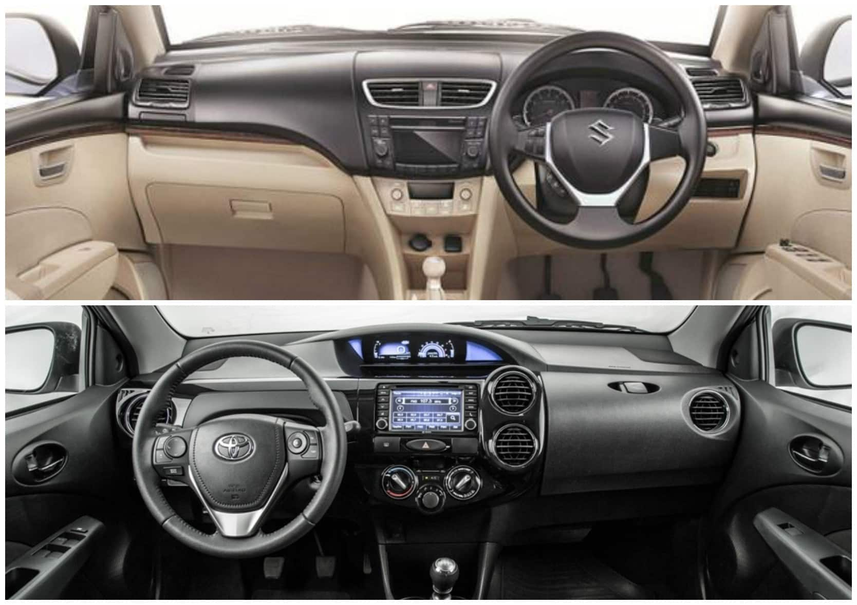 toyota etios sedan facelift vs maruti suzuki dzire comparison report find. Black Bedroom Furniture Sets. Home Design Ideas