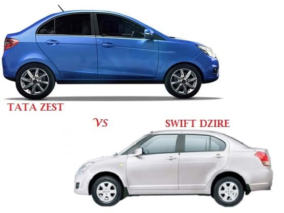 Comparison Tata Zest Vs Maruti Swift DZire: compare price & technical specifications