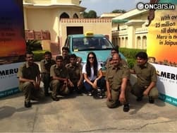Meru Cabs launch its services in Jaipur; Neha Dhupia flags off the first cab
