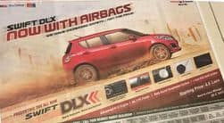 Maruti Swift DLX variant now offers driver airbag as standard fitment, priced at INR 4.8 lakh onwards