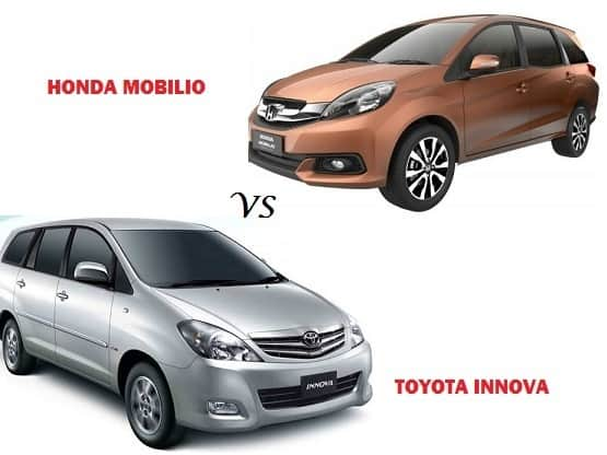 Comparison Honda Mobilio Vs Toyota Innova: compare price & technical specifications