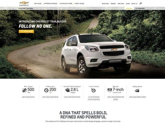 Chevrolet India adds Trailblazer to its official web Launch on ... on subaru website, toyota website, jaguar website, polaris website, honda website, volkswagen website, land rover website, jeep website, aston martin website, ford website, dodge website, porsche website, kia website, cadillac website, john deere website, bmw website, gmc website, nissan website, lexus website, tesla website,