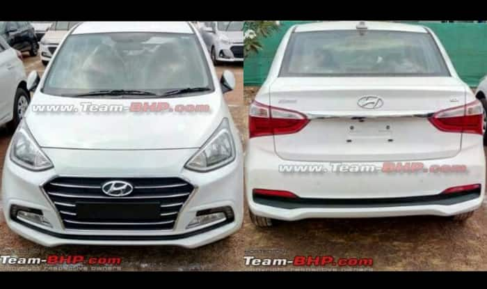 2017 hyundai xcent facelift sans camouflage spied ahead for Hyundai xcent exterior