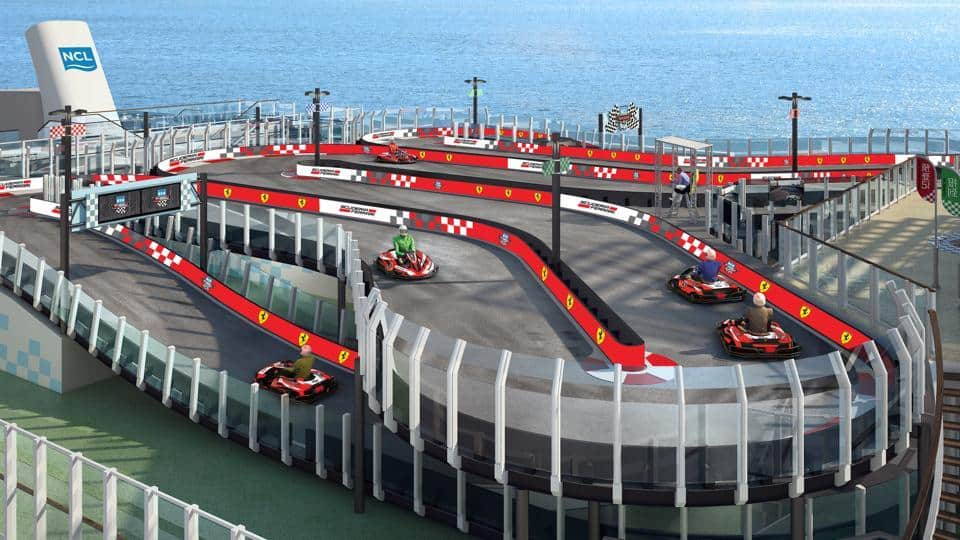 Meet Norwegian Joy: A luxury Cruise ship with Ferrari branded racetrack