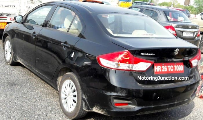Maruti Suzuki Ciaz 2017 Facelift Rear Profile Spied