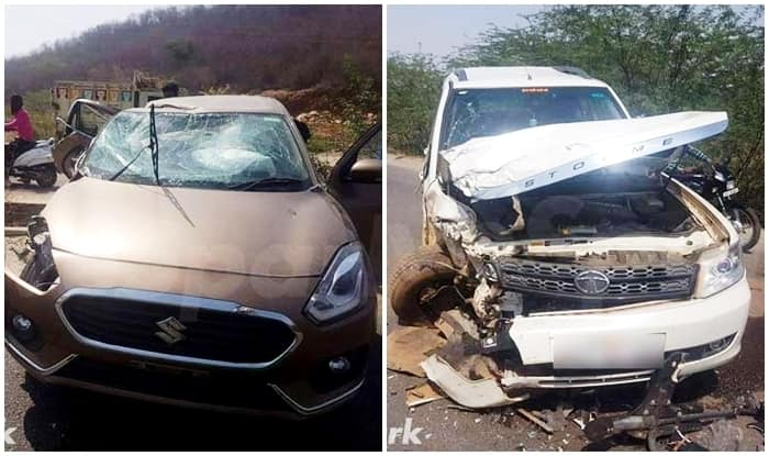 2017 Maruti Suzuki DZire crashes with Tata Safari; new DZire proves its structural safety