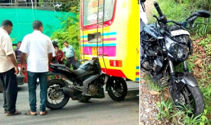 Bajaj Dominar 400 withstands collision with a bus at high speed in Kerala