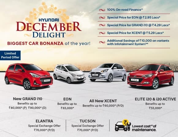 Hyundai Year End Offers: Hyundai Cars Offers & Discounts Up to INR 90,000 on New Xcent, Eon, Grand i10, Tucson and Elite i20