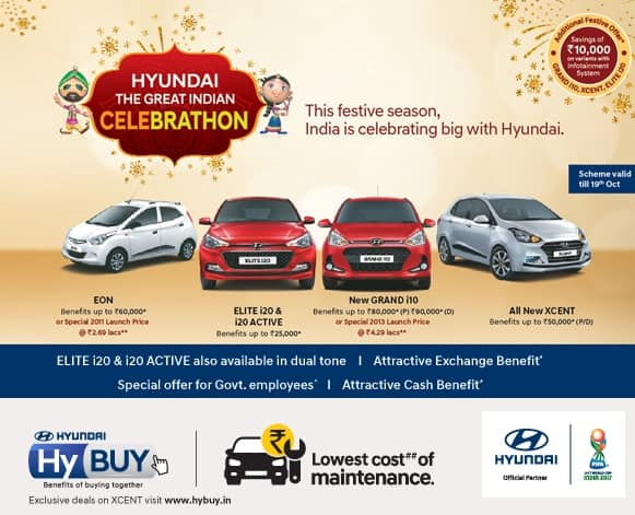 Diwali 2017 Offers and Discounts on Hyundai Cars: Get Cash Benefits up to INR 90,000 on Xcent, Grand i10, Elite i20, Eon