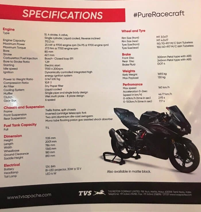 TVS Apache RR 310 engine specifications