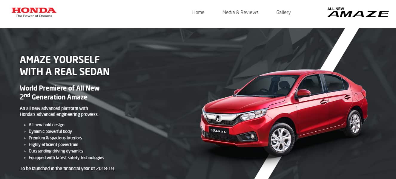 The Main Underline Of New Amaze Is Stylish Bold And Powerful Design Which Proffers An Attractive Appeal On Whole Upfront Sedan Now Carries A