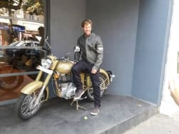 Images: Jonty Rhodes visits a Royal Enfield Store in Colaba