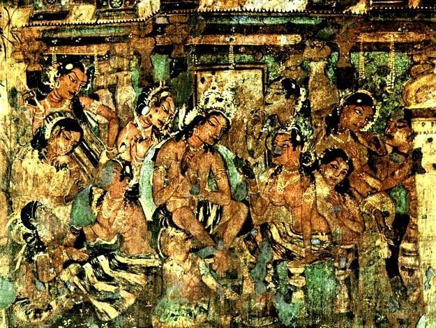 Mahajanaka Jataka wall painting in Ajanta Caves, Photograph courtesy: Wikimedia Commons