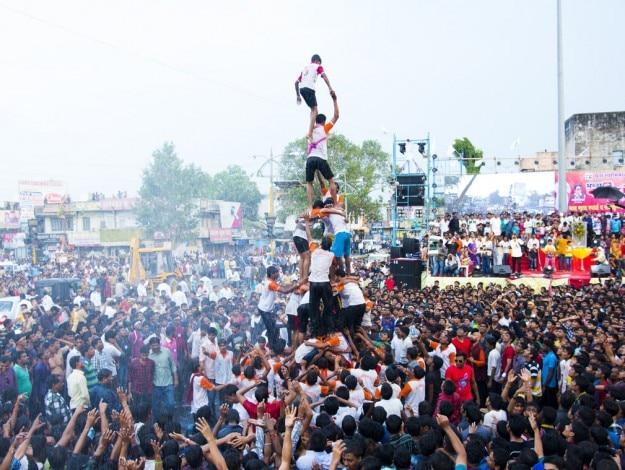 Dahi Handi during Krishna Janmashtami