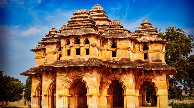 Vintage-retro-effect-filtered-hipster-style-travel-image-of-Lotus-Mahal-palace-ruins.-Royal-Centre.-Hampi-(2)
