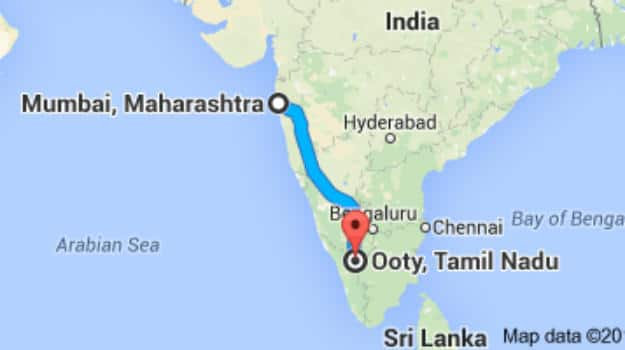 Ooty In India Map.Mumbai To Ooty How To Reach Ooty From Mumbai By Road Train