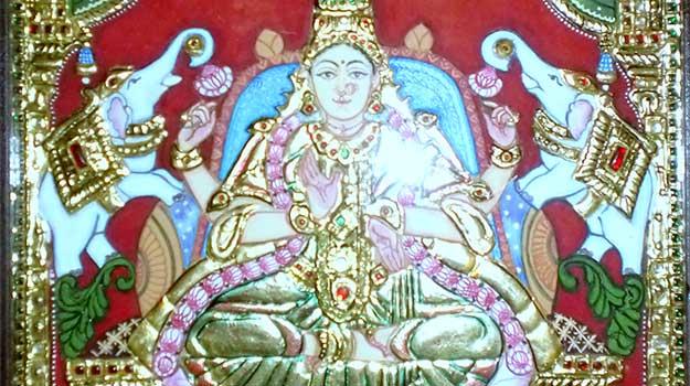 Gajalakshmi_in_Tanjore_Painting1