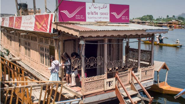 The Dal Lake in Kashmir is home to India's first floating post office