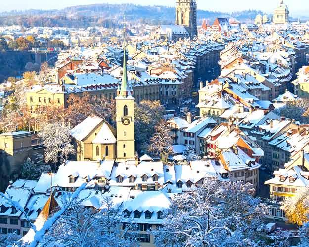 Switzerland-Bern-city-snow