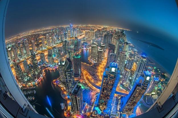 Dubai-Marina showing the Marina and Jumeirah Beach Residence-shutterstock_187448249