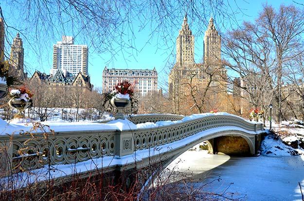 Central Park's bow bridge during winter