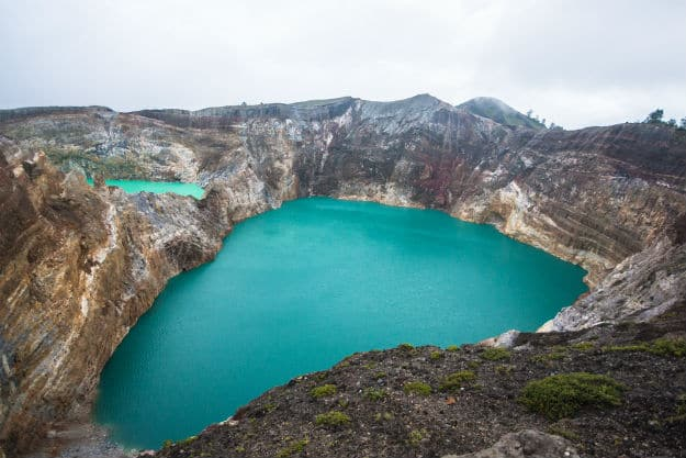 Lakes at the summit of the Kelimutu volcano in Flores