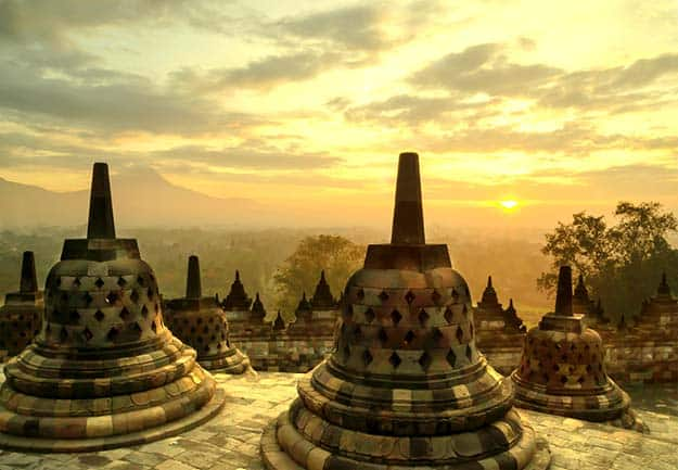 Sunrise at Borobudur Temple in Indonesia-shutterstock_386189617
