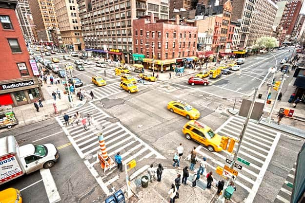 Taxis on a regular New York street