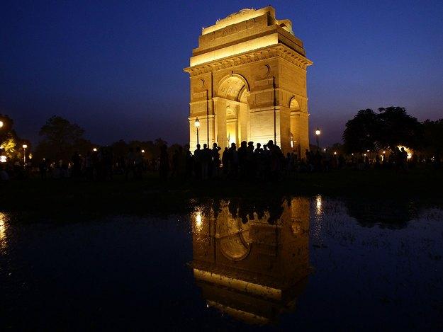 Iconic India Gate in Delhi at night