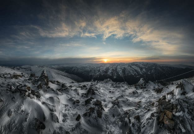 Epic sunset from the highest point on the Balkan Peninsula