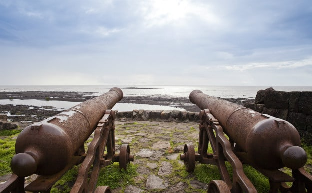 Cannons on the beach, Alibag