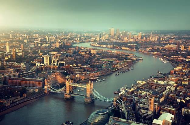 Thames running through London