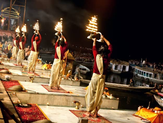 r Ganga Seva Nidhi onat Dashashwamedh Ghat in Varanasi, Uttar Pradesh, India.