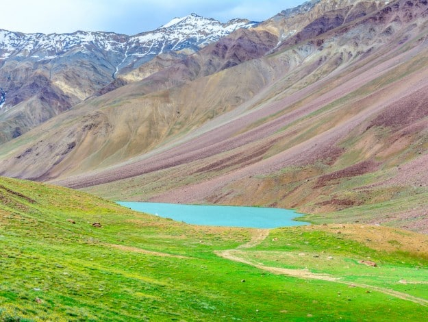 Scenic india himalayas mountains with Chandra Tal lake in Spiti valley landscape