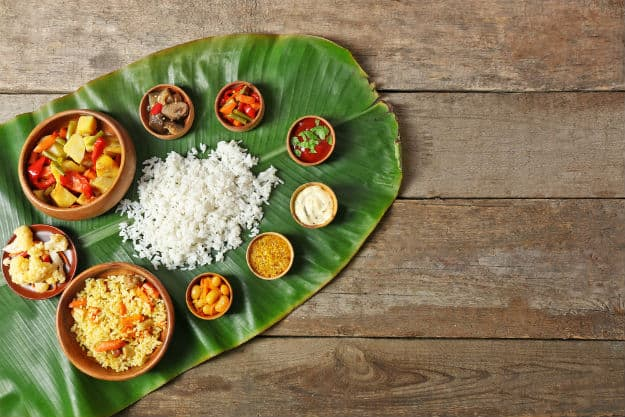 A traditional Sadhya feast in Kerala