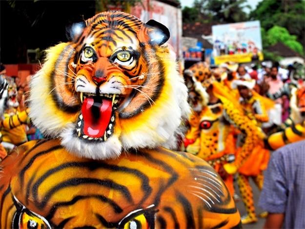 Puli Kali celebrations in Thrissur are held four days after Thiru Onam