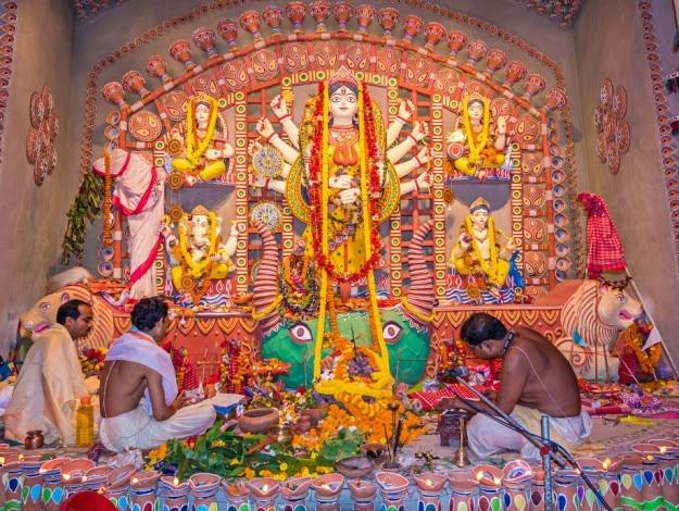 priests worship goddess Durga