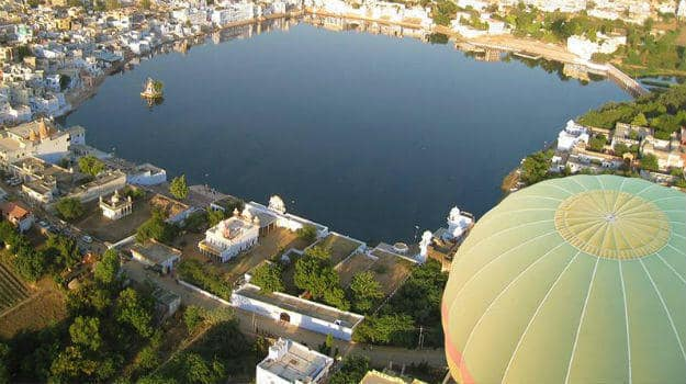 The view of Pushkar from a hot air balloon