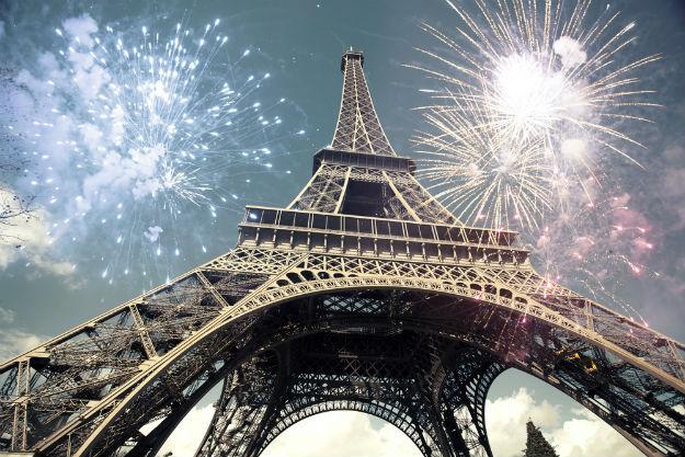 Fireworks over Eiffel Tower, Paris