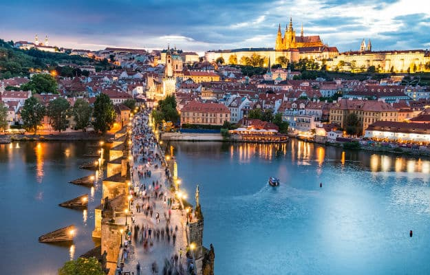 Prague cityscape in the evening