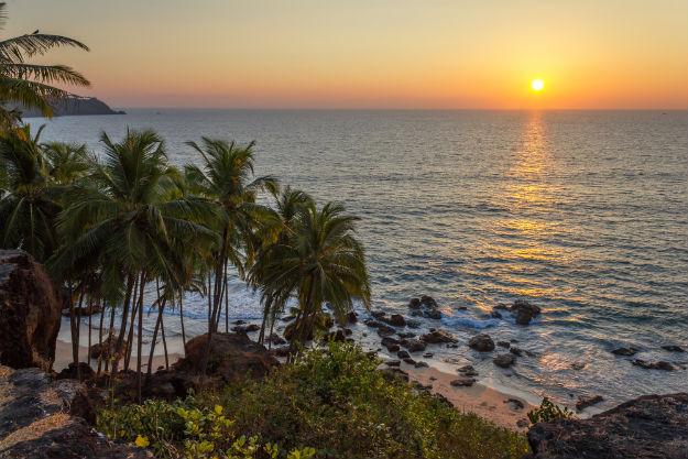 Sunset in Goa's Vagator beach