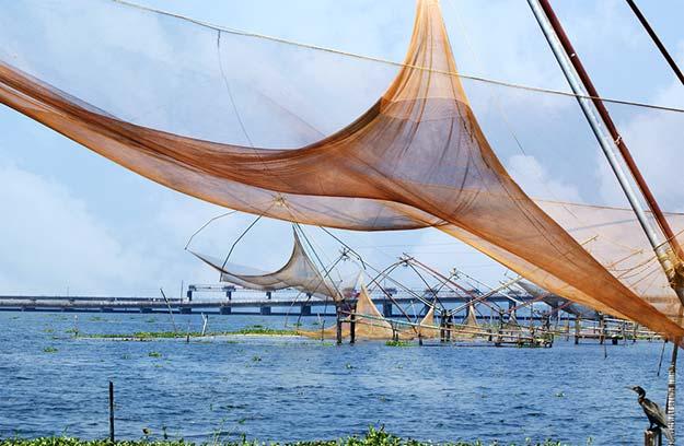 Chinese fishing nets in Vembanad, Kerala