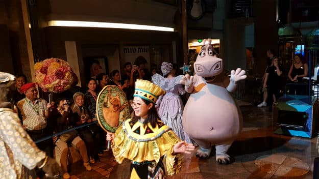 Gloria, the hippopotamus from Madagascar in the Royal Parade on Mariner of the Seas