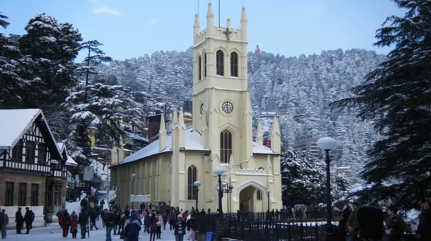 Christ Church Shimla on snowy day